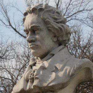 Beethoven bust in Tower Grove Park. Photographed by me.